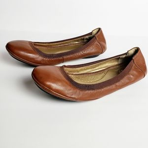 💜Me Too Flynn Brown Leather Ballet Flats